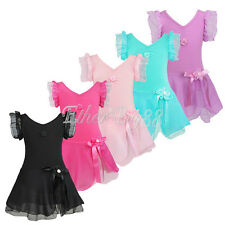 Kid Girls Gymnastics Ballet Dress Children Leotard Tutu Skirt Dance Wear Costume