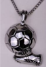 Mens football necklace pendant W chain Xmas holiday jewelry gifts GN105 US