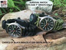 S FORCES Green or  Black Paracord Survival Compass Bracelet Fire Whistle Watch