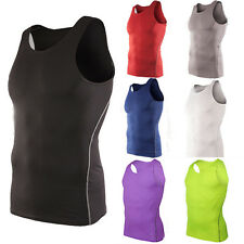 Mens Compression Base Layer Vest Tank Top Sleeveless Shirt Singlet GYM Sportwear