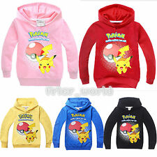 Pokemon Kids Hoodies Pikachu Pokeball Hoody Sweatshirt Girls Boys Pullover Tops