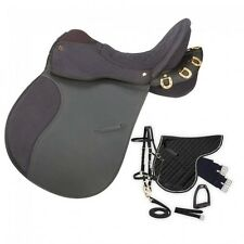 Eclipse by Tough 1 Pro Am Synthetic Trail/Endurance Saddle With Horn - 6 Piece