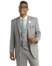 New Grey 3 Piece Shadow Stripe Mens Suit M2687 Wedding Tuxedo EJ Samuel Summer