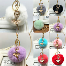 Cute Fur Ball Keychain Decor Bag Plush Car Key Ring Car Key Chain Pendant