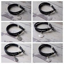 Personalised Leather Bracelet & 925 Silver SAINT Christopher ENGRAVED GIFT