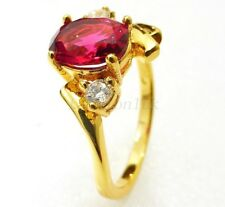 fashion1uk Simulated Diamond Ring Ruby Red Size 6 I J K L 24K Gold Plated
