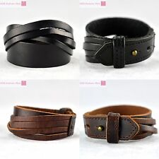 Multilayer Leather Fashion Bracelet Belt Bangle Punk Wristband Cuff Man/Woman