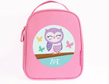 Bright Star Kids Pink Personalised Insulated Lunch Bag for Kid - Cute Little Owl