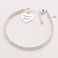 Dainty 925 Sterling Silver 4mm Beaded Bracelet, Engraved Heart Charm + engraving
