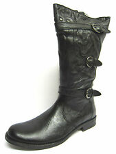 Ladies Damen Stiefel Black Leather Mid Calf Boots Style S-077