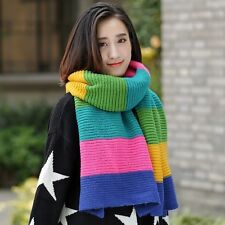 Womens Cable Knitted Scarf Rainbow Colorful Shawl Wrap Stole Winter Long Soft