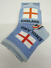 Infant Boys Blue, Red & White England Ankle Socks 3 Pairs 44B274