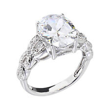 5 Carats Oval Cubic Zirconia Platinum Tone Brass Engagement Wedding Ring