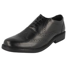 MEN'S HUSH PUPPIES BLACK LEATHER BROGUE LACE UP SHOES STYLE: ROCKFORD BROGUE
