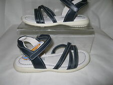GIRLS FLAT STRAP SANDAL NAVY LEATHER PRIMIGI
