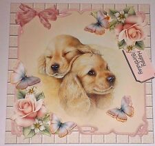 Handmade Greeting Card 3D Any Occasion With Golden Retriever Puppies