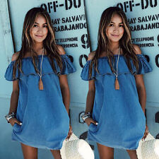 Sexy Women's Lotus leaf Off Shoulder Sleeveless Casual Loose Tops Mini Dress