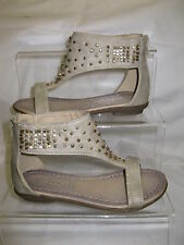 Girls Spot On Beige T-Bar Sandals with Gold Beading Zip Up Back H0081