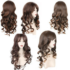 UK Long Curly Full Wig Cosplay Party Fancy Dress Blonde Brown AG