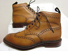 Mens Loake Tan Leather Lace Up Brogue Ankle Boots BURFORD 2 TAN