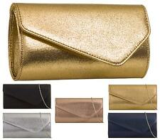 WOMENS LADIES FLAT CHAIN OVERFLAP ENVELOPE METALLIC PARTY EVENING CLUTCH BAG