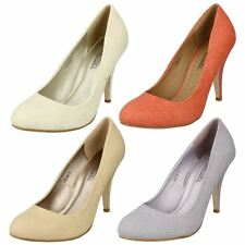 "Ladies Spot On Nude Snakeskin Effect Court Shoes with 4"" Heel Style F9538"