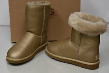 New UGG Uggs Classic Short metallic Gold LEATHER  Boots 9 RARE!