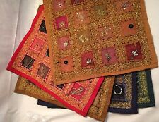 "Hand Embroidered Sequin Work Cotton Cushion Covers 16"" X 16"""