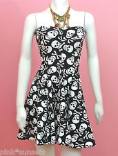Betsey Johnson Skull Sweetheart Neck Fit and Flare Strapeless Lycra Dress XS P S