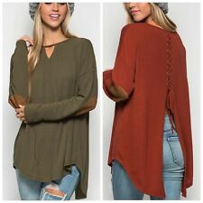 Lace up Back Knit Top With Suede Elbow Patch SEXY Slouchy Fit Rust Gray Olive