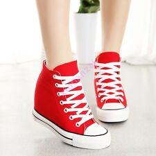 Womens Hidden Wedge Heel Casual 8CM Canvas High-Top Trendy Strappy Sneaker Shoes