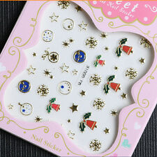 Christmas Nail Art Transfer Stickers 3D Design Manicure Tips Decal Decor EW