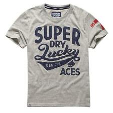 New Men Superdry Tee T-shirt Shirt Top Crew Neck Lucky Aces Light Grey Grit L XL