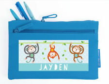 Bright Star Kids Personalised Pencil Pouch Case / Bag with Name - Monkey Fun