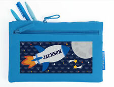 Bright Star Kids Personalised Pencil Pouch Case with Name - Rocket Ship in Space