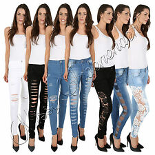 Womens Stretch Faded Ripped Ladies Slim Fit Skinny Crochet Denim Jeans Size 6-14