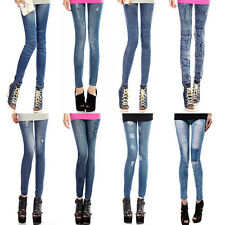 New Womens Slim Faux Denim Sexy Skinny Leggings Jean Jeggings Stretch Pants Blue
