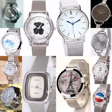 Ladie,Men Stainless steel, Chrome mesh strap, Analog Quartz Wrist Watch