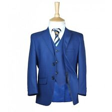 Boys Suit Italian Fit Blue Check Checkered Formal Pageboy Wedding Suits