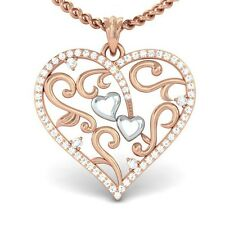0.37ct IJ SI Natural Diamond Lovely Gift Filigree Heart Pendant 10K Gold