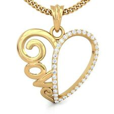 0.22ct IJ SI Fine Diamond Love Word Heart Shaped Pendant Women 18K Gold