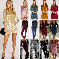 Womens Crushed Velvet Mini Dress/ Playsuit /2pcs Tracksuit Set Party Casual Gym