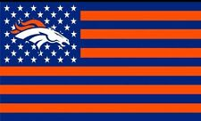 DENVER BRONCOS USA FLAG BANNER 3' X 5' HUGE FLAG Stars & Stripes 3x5 Superbowl