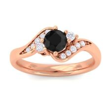 Black Diamond IJ SI Natural Gemstone Diamond Engagement Ring 10K Gold