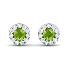 Green Peridot IJ SI Diamond Gemstone Womens Halo Stud Earring 14K Gold