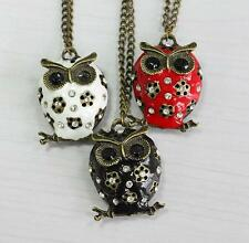 1Pcs Crystal Charms Long Hot Chain Sweater Owl Necklace Pendant Rhinestone Retro