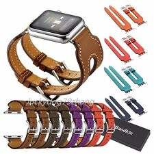 Genuine Leather Double Buckle Cuff Bracelet For Apple Watch Band Series 2 & 1