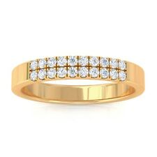 0.19ct IJ SI Natural Round Diamonds Womens Classic Wedding Band 18K Gold