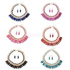 Women's Ethnic Droplets Necklace Earrings Fashion Party Boho Jewelry Set 6color