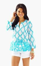 New Lilly Pulitzer Amelia Island Tunic Blouse Top White Blue Turtle Cove S